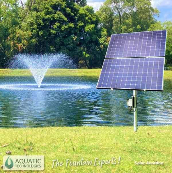 Solar Half HP Aeration Fountain Panels and fountain